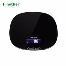 Finether Kitchen Scale Precise Cooking Scale with LCD Display Perfect for Baking Kitchen Cooking Black Smooth Glass Surface(China)