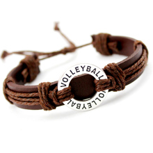 Volleyball Soccer Football Baseball Softball Lacrosse Field Ice Hockey Golf Calisthenics Charm Leather Bracelets Jewelry Gift(China)