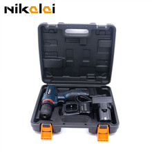 NIKALAI 25V lithium battery hand Cordless electric drill wood driver drill home electric screwdriver and carry case power tools