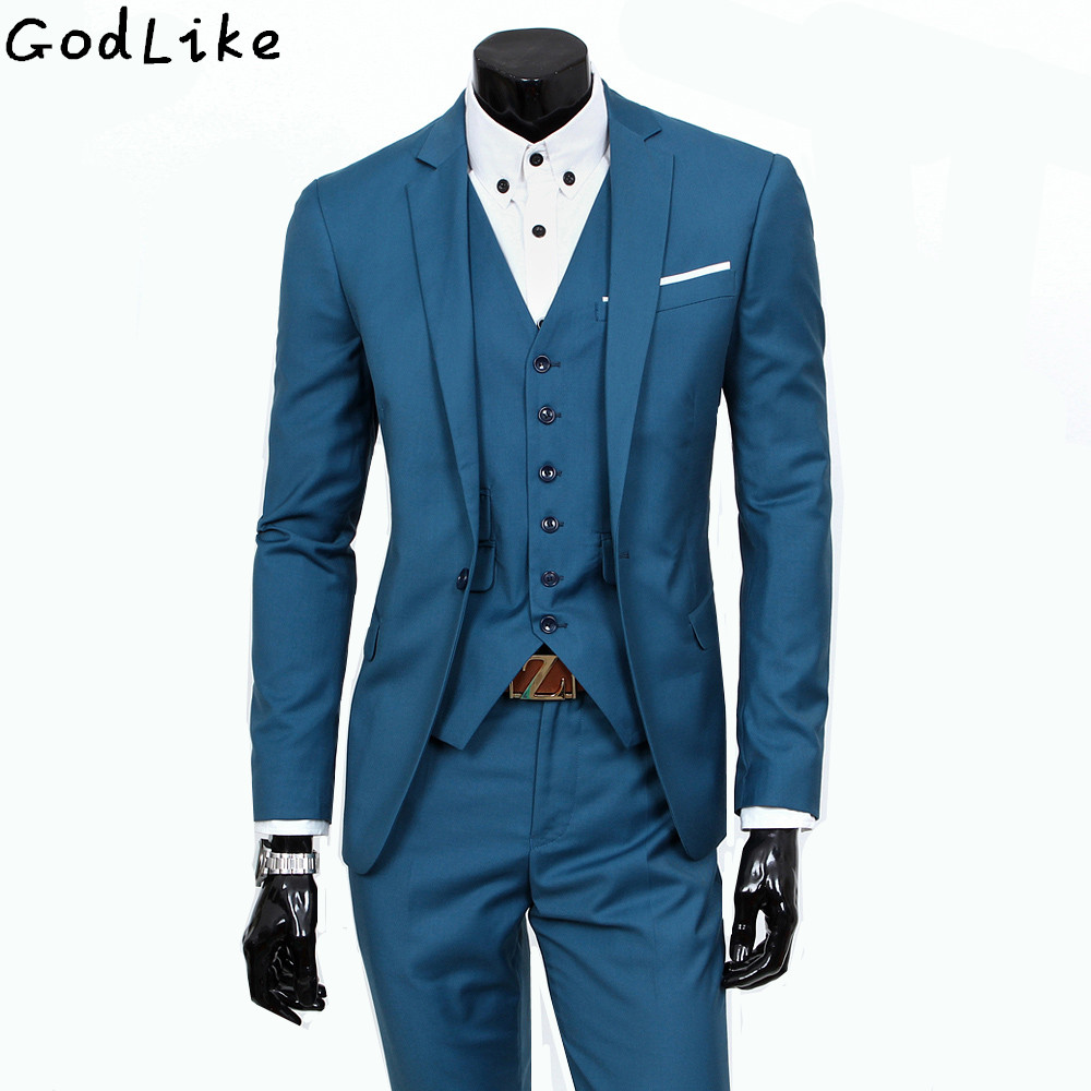 custom made men suits silm wool blue grey navy two button Korea ...