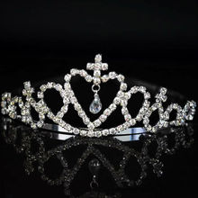 hot sale Celebrity Cute Little Girl Rhinestone Princess Crown Headband Tiara Hair Sticks hair band hairband accessories