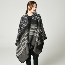 Winter Cashmere Cape Poncho Women Thick Warm Tribal Aztec Style Pashmina Scarves Shawls Poncho Surf Tarp Coat(China)