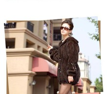 Free shipping new knitted genuine real natural Mink fur coat with hooded women knit fasion  jacket winter fur waistcoats