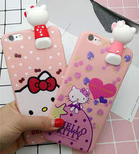 Hot Japan Fashion Cute 3D Cartoon Hello Kitty Cat Soft Silicon Protective Case for iPhone 7 7plus 6 6S Plus Cover Coque