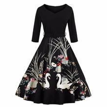 Elegant Spring Summer Swan Print 50s Vintage Dress V Neck High Waist Belts Zipper Swing Party Retro Feminino Vestidos