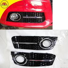 Free shipping Black+chrome line car facelift foglamp cover car front fog lights hoods mesh grill for Audi A4 B8 2009-2012