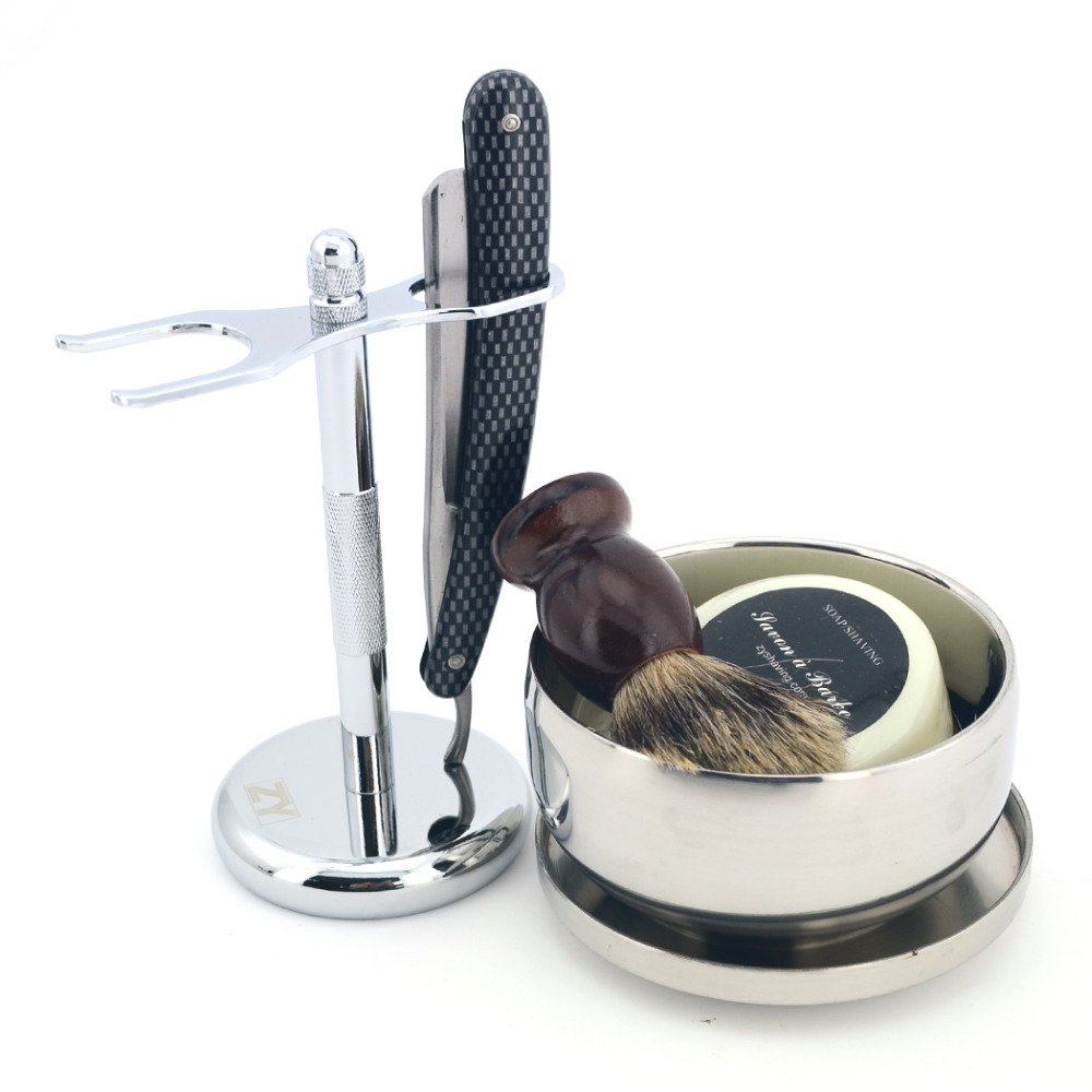 Men Shaving Kit Straight Razor Cut Throat Knife Shave Ready Pure Badger Hair Shaving Brush Stand Bowl Face Cleaning Soap<br>