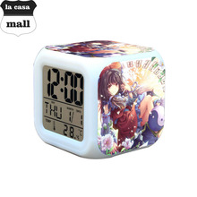 Japan Cartoon action toys figure TouHou Project Kids Gifts Toys Led 7 Colors Flash Digital Alarm Clock reloj despertador Watches