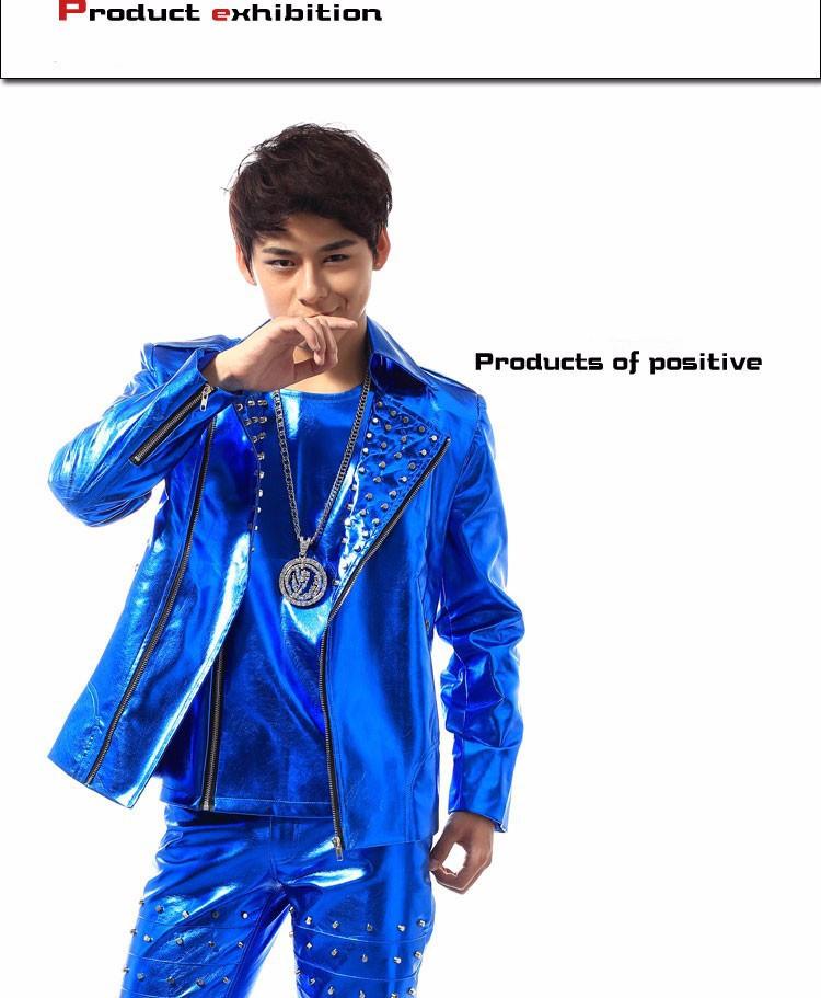 HTB1IKbBXHYI8KJjy0Faq6zAiVXaC - (jacket+pants+vest) men blue rivet suits dancer singer dress performance show nightclub clothing pants Outdoors wear bar party
