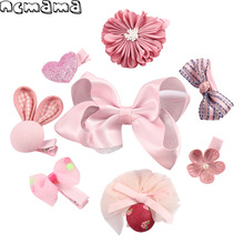 1 Set Mix Style Girls Hairpins Sets Glitter Hairbows Floral Hairgrips Boutique Handmade Children's Hair Accessories WITHOUT Box(China)