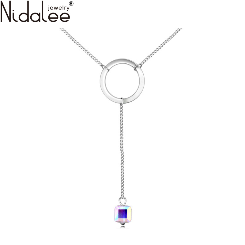 Nidalee Brand 2017 New Necklaces With Crystal From Swarovski Crystal Long Pendant Maxi Necklace For Women Party Jewelry Gift(China (Mainland))