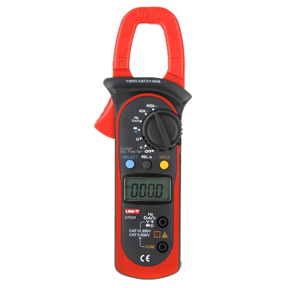 UNI-T UT203 Digital Handheld Clamp Multimeter Tester Meter AC DC Volt Amp Red+Black<br>