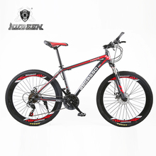 High quality 26 inch bike steel 21 speed aluminum frame mountain bike skateboard pedal oil spring shock absorber double disc bra(China)