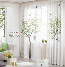 Fresh Countryside cotton and linen curtain Finished curtain 130*260cm Tree and bird curtain(China)