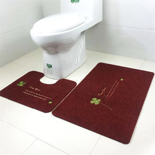 Lowest Price Heart Absorbent Soft Bath Pedestal Mat Toilet Non Slip Floor Rugs Sets Washable Home Decorate