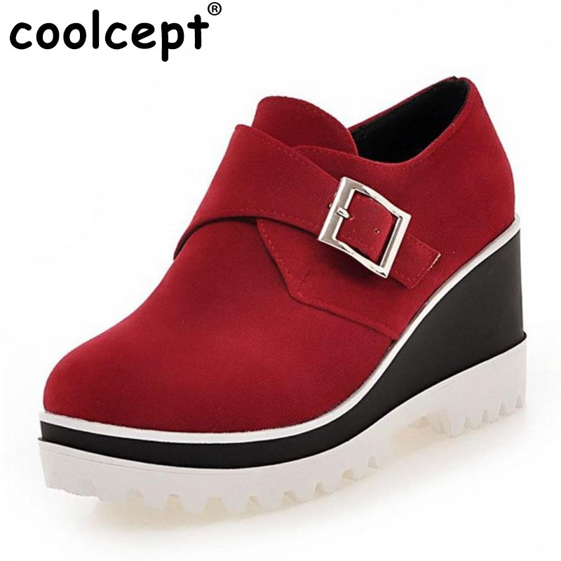 Coolcept women wedge shoes british woman quality hot sale leisure footwear fashion moccasins shoes size 34-43 P22731<br>