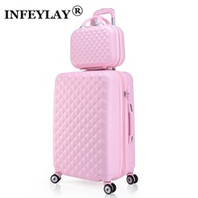 2PCS/SET 14inch Cosmetic bag 20/24 inches girl students trolley case Travel spinner luggage woman rolling suitcase Boarding box(China)