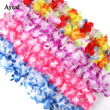 Aytai 12pcs Hawaiian Party Decorations Artificial Flowers Garland Necklace Wedding Table Decoration Hawaiian Leis Flowers 100cm(China)
