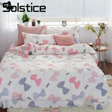 Solstice Home Textile Pink Bowknot Plaid Brief Girl Bedding Sets 100% Cotton Bedlinen Duvet Cover Pillowcase Flat Bed Sheet 4Pcs(China)
