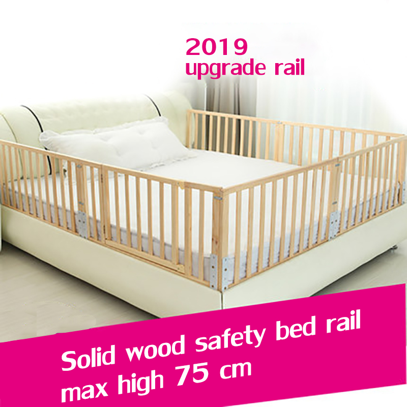 Solid wood Baby bed guardrail Liftable bed railing baby anti-fall bed railing bedside baffle universal 60cm 2 m bed saftey rail