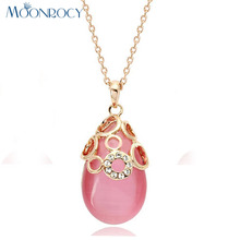 MOONROCY Free Shipping Jewelry Cubic Zirconia Rose Gold Color Pink Opal  Crystal Necklace Waterdrop Choker for Women Gift