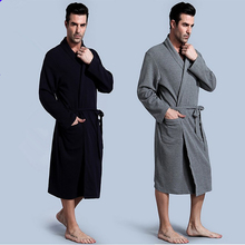 2017 New Fashion Men's Solid Color Male Kimono Robe Full Sleeve Shawl Collar Nightwear Knitted Sleep Lounge Robes Bath Robe Men