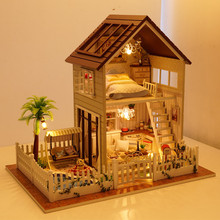Free Shipping Assembling DIY Miniature Model Kit Wooden Doll House,Paris Apartment House Toy with Furnitures(China)