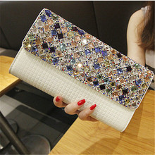 QIAOBAO 2017 Newest Bridal diamond beaded clutch bag evening bag patent leather bag shoulder Rhinestone bag