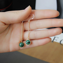 Hot Sale High Quality European Elegant Fashion Drop Earrings Round Malachite Gem Ear Clip Long Earrings For Women Jewelry 9239