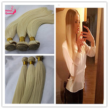 3 Bundles 613 Blonde Virgin Hair Russian Straight 7A 100% Human Hair Extensions 8-30 Inch In Stock 613 Blonde Hair Weave