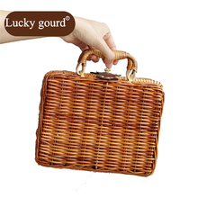 LUCKY GOURD Vintage Bamboo Rattan Women Straw Hangbag Idyll Receive Case Packing Female Bag Hand-made Rattan Cases Totes  Z789