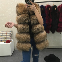 Best Real Natural Fur Vest Women's Genuine Raccoon Fur Leather Jacket Overcoat Girl's Fox Fur Vest Coat