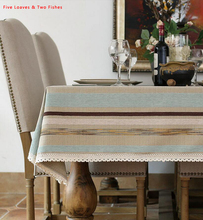 Free shipping Linen Tablecloth Striped Tablecloths High Quality Lace Table Cloth Cover Cloth