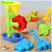Happyxuan 6 pieces Set Kids Plastic Windmill Sand Toy Kettle Mold Shovel Water Play Outdoor Fun Children Gift