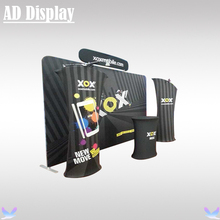 3m*3m Booth Size Premium Straight Tension Fabric Backdrop With Advertising Banner Stand And Portable Oval Table(Include Light)