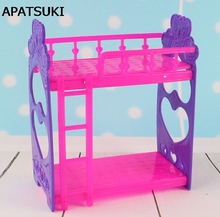Kid's Play House Toys Doll Accessories Handmade Doll's Plastic Bunk Bed For Kali dolls For Barbie Dollhouse(China)