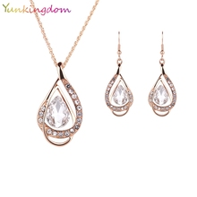 Yunkingdom NEW White Crystal Earrings Gold Color Necklaces&Earrings Water Drop Fashion Jewelry Sets For Women