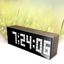 Led Wooden Clock Digital Wood Wall Watch Big Screen Dual Alarm Watch Bedside Snooze Kitchen Timer Office Temperature Date
