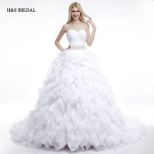 H&S BRIDAL 2017 Real Model White Ruffles Sweetheart Ball Gown Wedding Dresses Designer Beaded Bridal Gowns Vestidos De Novia(China)