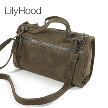 LilyHood Female Suede Genuine Leather Rivet Shoulder Bag For Women Casual Leisure Cheap Handbag Cool Nubuck Summer Crossbody Bag
