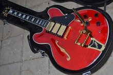Free shipping wine red Custom Shop ES-355 with 1959 Bigsby Bridge gold Jazz Guitar without hard case(China)