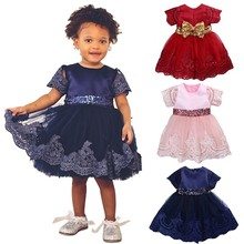 Buy summer Baby Princess Dresses Girls Clothes Short Sleeve Lace Bow Ball Gown Tutu Party Girls clothing Dress Toddler Kids dress for $16.97 in AliExpress store