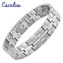 Channah 2017 Men High Power Magnetic Titanium Bracelet Jewelry 36pcs Magnets Silver Healing Male Bangle Wristband Charm(China)