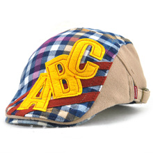 2017 Autumn Winter Girl Boy Berets Woolen Boys Cap Visors Kids Hat Gorras Plaid Letter Hats Gentlemen Stylish(China)