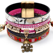 Skull/Owl Accessories Magnetic Clasp Leather Colorful Flannel Tassel Cuff Bracelet Bangles Women Party Design Jewelry Bohemian