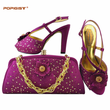 Italian Shoes With Matching Bags Rhinestone High Quality shoes and bag set to match Magenta color with platform ladies pumps(China)