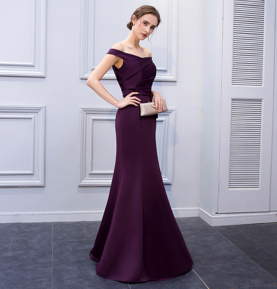 BeryLove Simple Mermaid Purple Satin Evening Dresses 2018 Long Off Shoulder Evening Gowns Formal Evening Dress Prom Dress 3