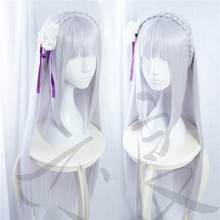 100cm Long Silver Purple Emilia Cosplay Synthetic Hair Wig Anime Re: Life in a Different World from Zero Cos Wigs(China)