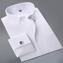 Recommend 2017 high quality France cufflink full sleeve wedding party men shirts comfortable easy care formal male shirts(China)