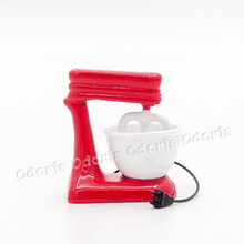 Odoria 1:12 Miniature Old-Fashioned Red Stand Mixer with Bowl Metall Dollhouse Kitchen Accessories